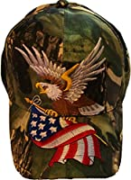 Camo Patriotic Baseball Cap American Flag Bald Eagle Hat Red White and Blue