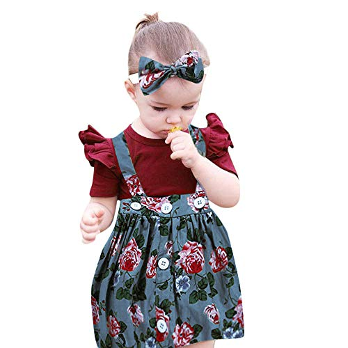 Todaies 3Pcs Baby Toddler Girls Outfits, Kids Overalls Skirt +Headband+Romper Clothes (6-12 Months, Blue)