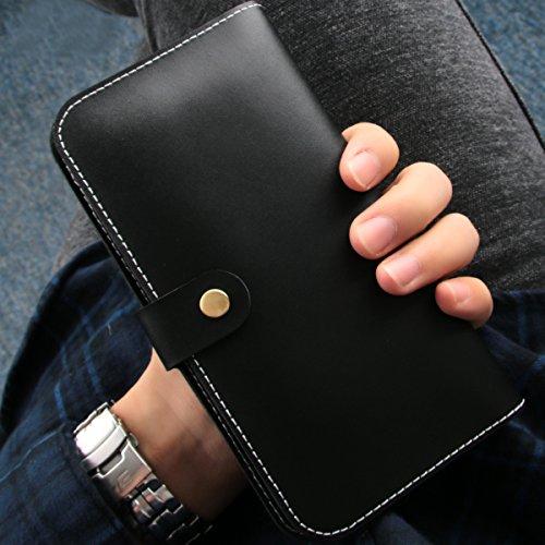HTC M7 M8 M9, Huawei P7 P8, Samsung Galaxy S2 S3 S3 S4 S6 S6 S6 Edge Fundas,TOTOOSE Borde de Cuero Genuino Cubierta de la Caja Ranuras Tarjetas Antichoque a prueba de caja del teléfono de parachoques  negro