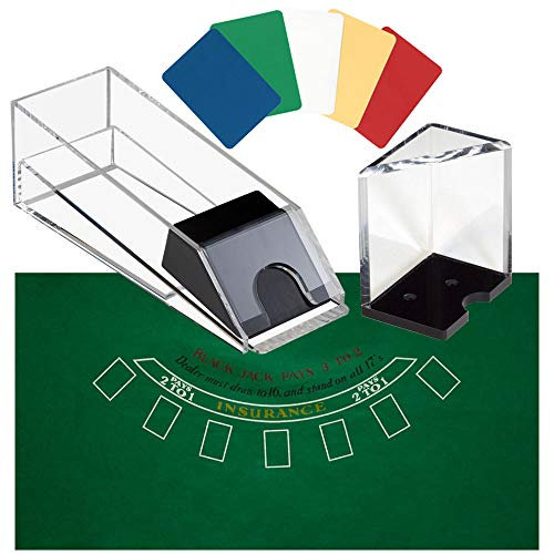 GSE Games & Sports Expert 6 Deck Blackjack Dealing Shoe | Discard Holder | Layout | Cut Card Combo ()