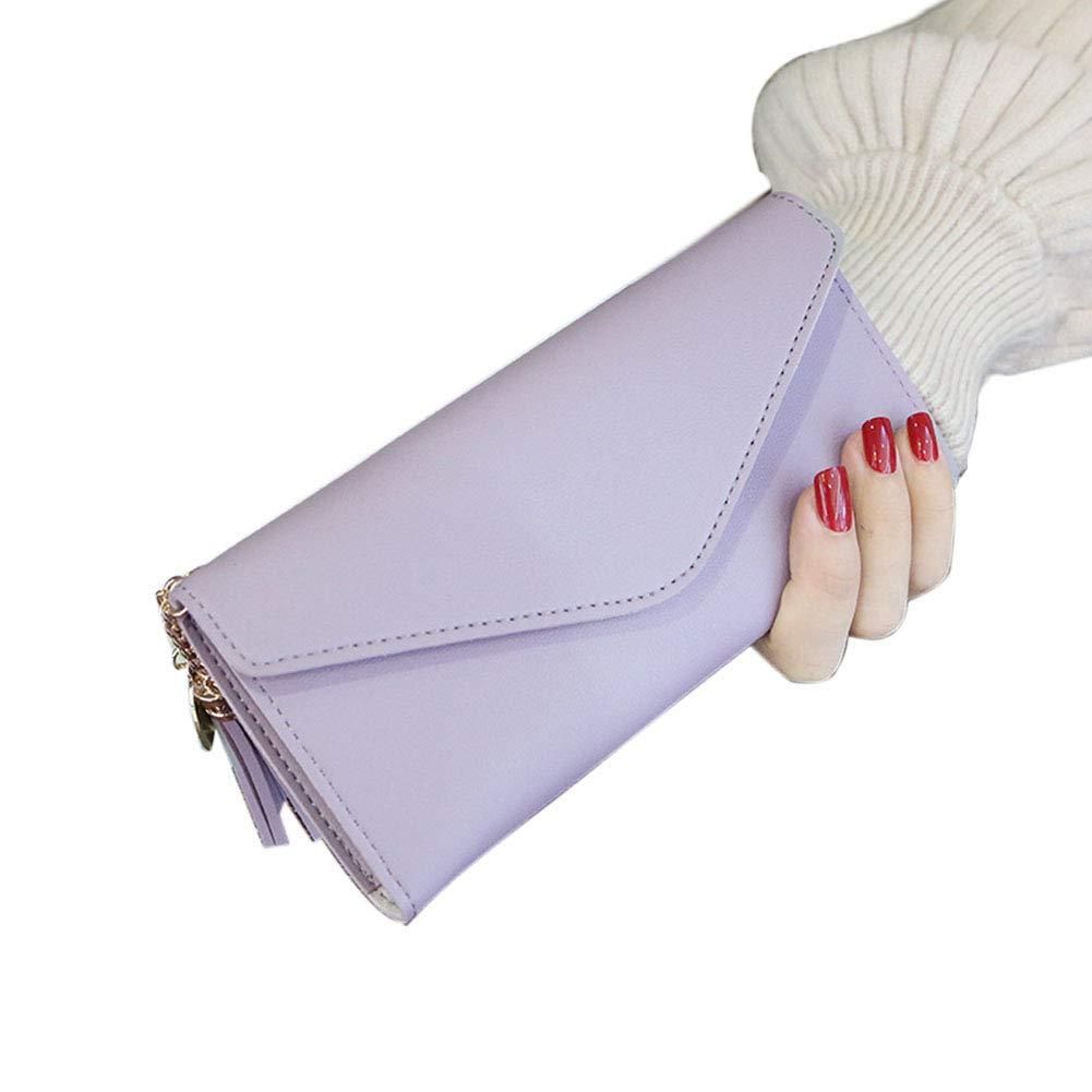 Aland Solid Color Faux Leather Women Long Purse Card Cash Holder Envelope Clutch Bag Purple