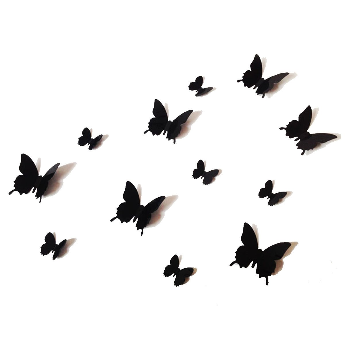 12PCS 3D Black Butterfly Wall Stickers Art Decal PVC Butterflies Home DIY  Decor: Amazon.co.uk: DIY U0026 Tools