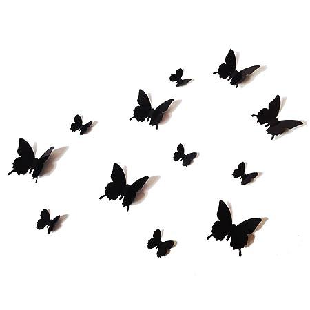 12PCS 3D Black Butterfly Wall Stickers Art Decal PVC Butterflies Home DIY  Decor