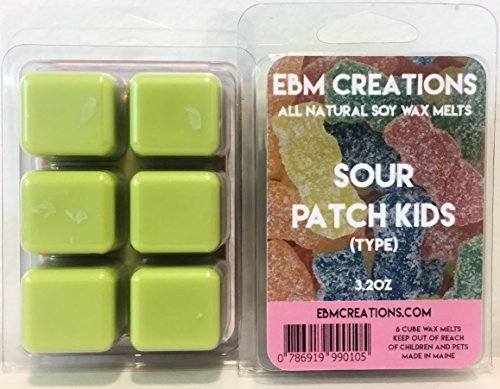 Sour Patch Kids (Type) - Scented All Natural Soy Wax Melts - 6 Cube Clamshell 3.2oz Highly (Victoria Mahogany Jewelry)
