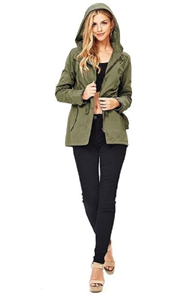 Pink Ice Women's Cargo Style Hoodie Jacket Olive 1X
