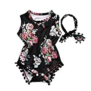 Cute Adorable Floral Romper Baby Girls Sleeveless Tassel Romper One-pieces +Headband Sunsuit Outfit Clothes (6-12 Months, Black)