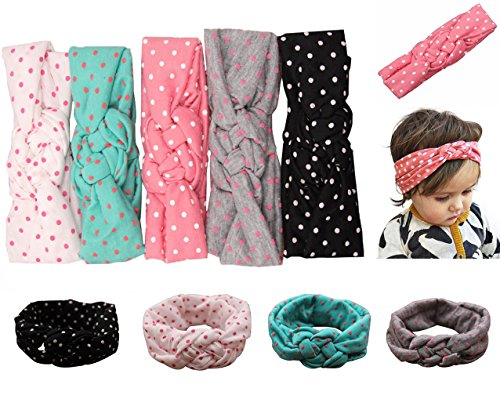 (Mookiraer Baby Girl Newest Round Dot Turban Headband Head Wrap Knotted Hair Band (ZY05))