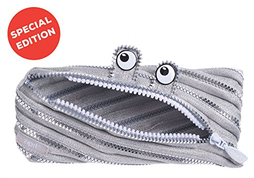 ZIPIT Monster Pencil Case Special Edition, Silver (School Box Pencil)