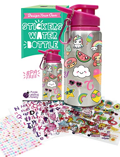 Decorate & Personalize Your Own Water Bottle for Girls with Tons of Fun On-trend Stickers! BPA Free 20 oz Kids Water Bottle! Cute & Creative Gift Idea for Girl, Fun DIY Art and Craft KIt for Children