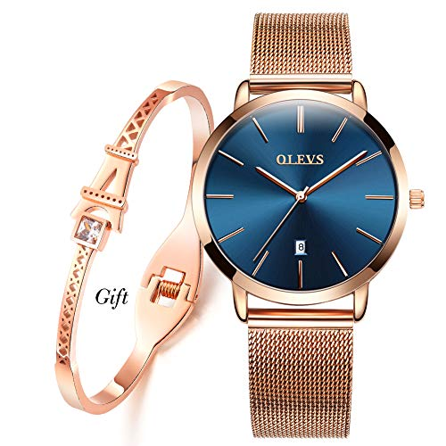 Ultra Thin Minimalist Watches for Women and Fashion Eiffel Tower Bracelet Gift Set,OLEVS Slim Casual Dress Blue Big Face Dial Analog Quartz Date Wrist Watch Waterproof with Milan Mesh Band Rose Gold