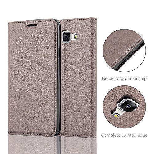 Cadorabo - Funda Book Style Cuero Sintético en Diseño Libro para >                                                  Samsung Galaxy A7 (6) - Modelo 2016                                                  < �?Etui Case Cover Carcasa Caja Protección con Imán Invisible en ROJO-MANZANA MARRÓN-CAFÉ