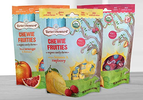 (Torie and Howard Chewie Fruities 3 Pack Candy - Assorted (Blood Orange, Pomegranate, Lemon Raspberry) )