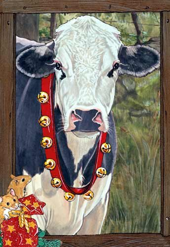 Holstein Cow Christmas Cards : 10 Holiday Cards with Red Envelopes - ADORABLE!