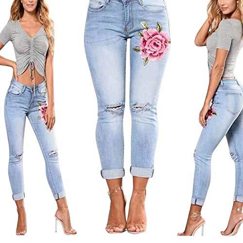 Tope Bordados Pantalones Ajustados Con Abajo De Hellblau A Tiro Casuales Botones Para Mezclilla Mujeres Vaqueros Mujer Bajo qwwfRAg4