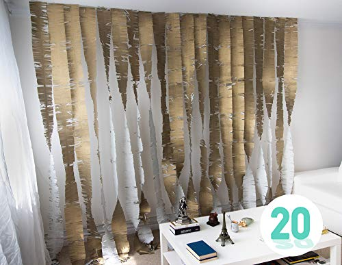 Palluat Tissue Paper Fringe Garlands Streamer Party Decorations 20 Count (Brown Gold)