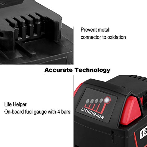Biswaye 2 Pack 18V 5.0Ah Replacement Battery for Milwaukee 18V High Capacity Red Lithium Cordless Power Tools Battery M18 XC M18B 48-11-1820 48-11-1850 48-11-1828 by Biswaye (Image #3)