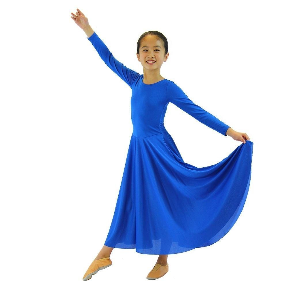 Danzcue Girls Praise Loose Fit Full Length Long Sleeve Dance Dress, Bright Royal, 6X-7 by Danzcue