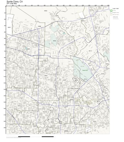 Zip Code Map Santa Clara County.Amazon Com Zip Code Wall Map Of Santa Clara Ca Zip Code Map