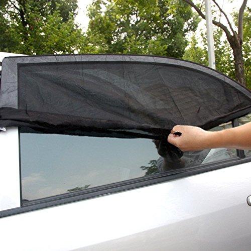 2pz Parasole per Finestrini Laterali Auto Pieghevole Elastico 2 Strati Stoffa Esterno e Interno QUMAO Resistente Raggi UV riflessione Luce Solare Compatibile Maggior Parte Veicoli 114x52cm