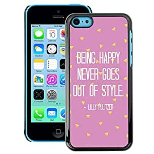 A-type Arte & diseño plástico duro Fundas Cover Cubre Hard Case Cover para iPhone 5C (Being Happy Motivational Pink Text)