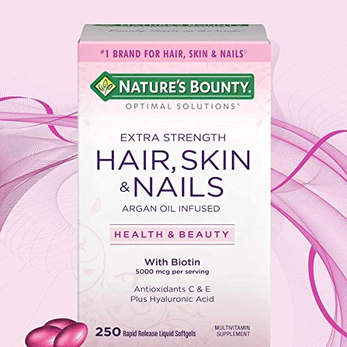 Nature's Bounty Optimal Solutions Hair Skin & Nails Extra Strength, Multivitamin Supplement, with Antioxidants C & E 250