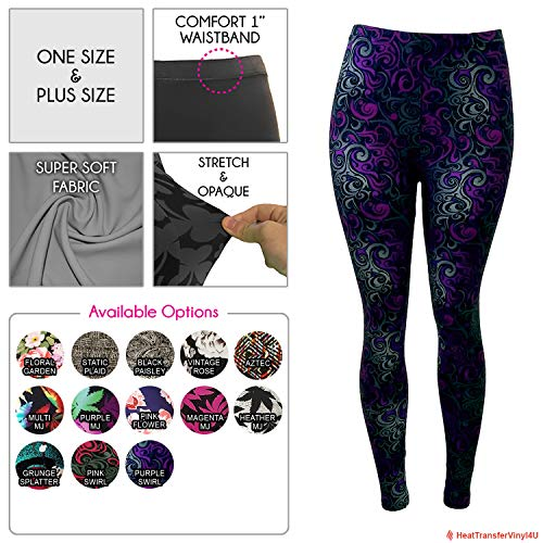 - Women's Premium Ultra Soft Patterned Leggings (Purple Swirl, Plus Size)