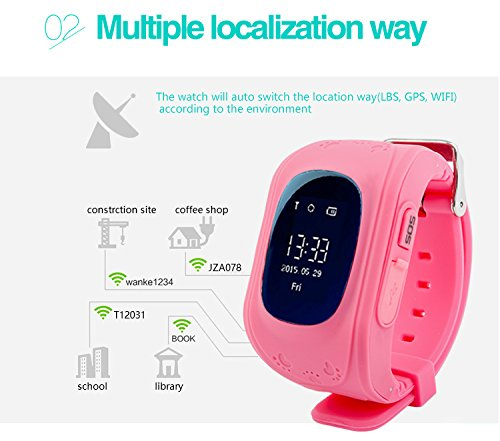 LY ANT GPS Kids Tracker Smart Watch Smartwatch Phone with Anti-lost Alarm Remote Monitor SOS Calls Support Android IOS (Pink)