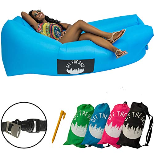 Off the Grid Inflatable Lounger - Air Sofa Wind Chair Hammock - Floating/Portable Bed for Beach, Pool, Camping, Outdoors Lazy Bag Cloud Couch (Blue)