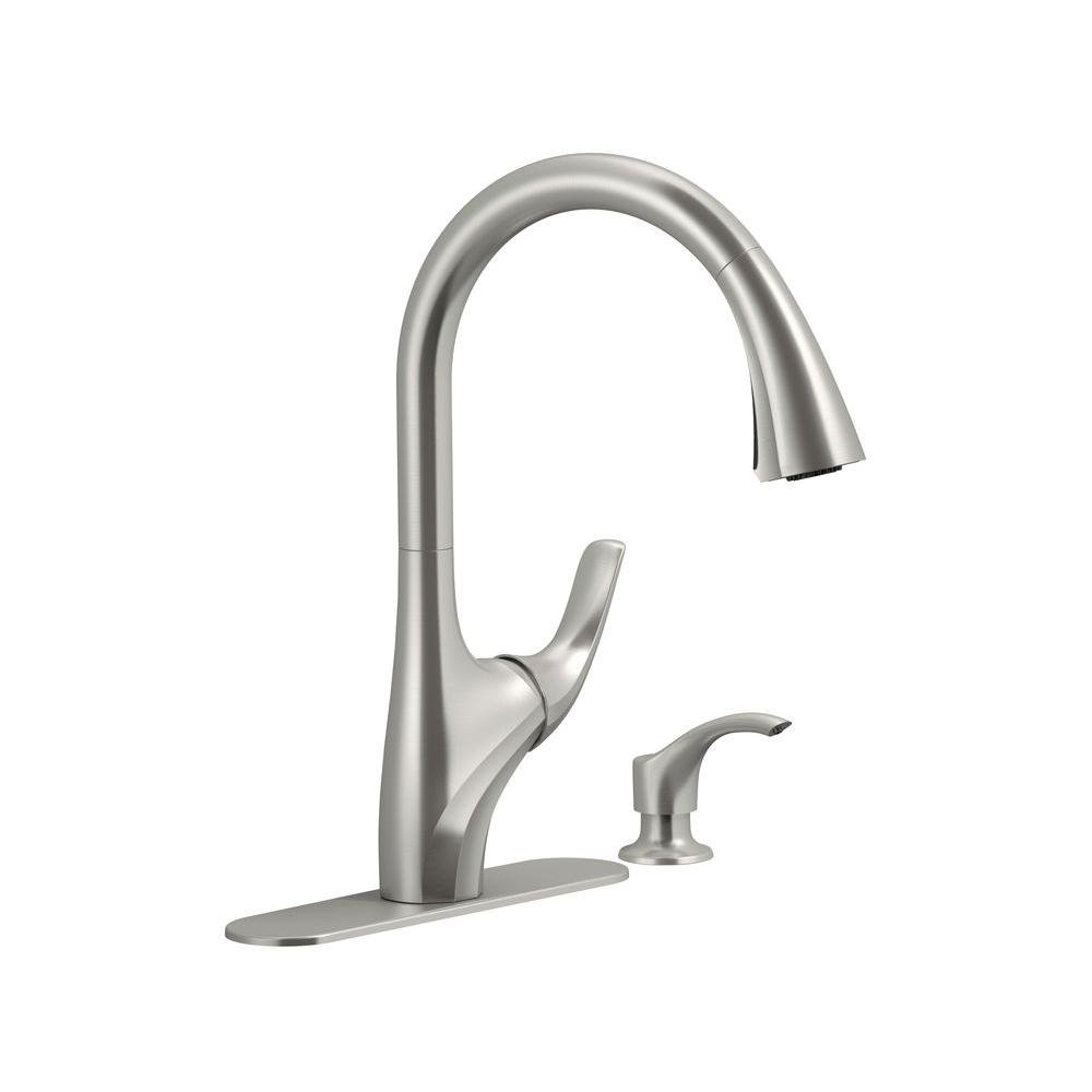 Kohler K-R18594-SD-VS  Trielle Single-Handle Pull-Down Sprayer Kitchen Faucet in Vibrant Stainless