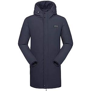 [eleitchtee] 電熱ジャケット ダウンコート メンズ ヒーター付き ヒートジャケット 防寒着 極暖 フード付き(S ネイビー)