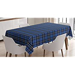 Lunarable Plaid Tablecloth by, Classical Old Fashioned Abstract Pattern Design Scottish Country Style, Dining Room Kitchen Rectangular Table Cover, 60 W X 90 L Inches, Violet Blue Black White