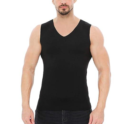 AOJIAN Men T Shirts Sleeveless Shirts Solid V-Neck Slim Exercise Tunic Casual Blouses Vest