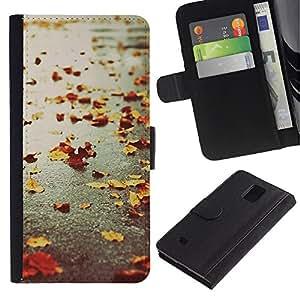 KingStore / Leather Etui en cuir / Samsung Galaxy Note 4 IV / Otoño estaciones de lluvia calle camino Leafs