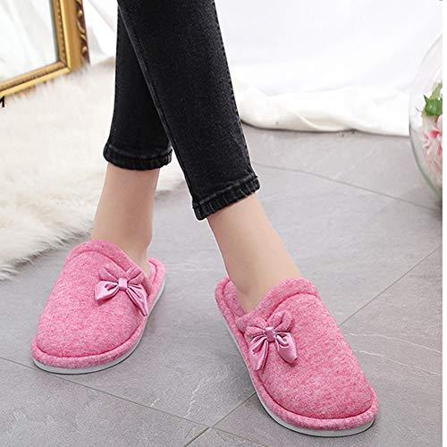 Yangyongli Backtoblue 43 Qualité 42 Noeud Chaussures Coton Au Rose Garder De Pantoufles Papillon En Noeud Coréenne Belle Chaud Version Haute raSUxrqw