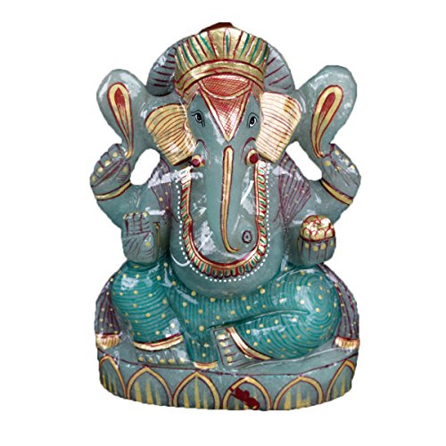 gemhub Approximately 5871.00 Ct. Lord Ganesha Statue Lab Certified Green Jade Gemstone for Power, Wisdom, Strength, Fertility, Protection of The Home V-4453