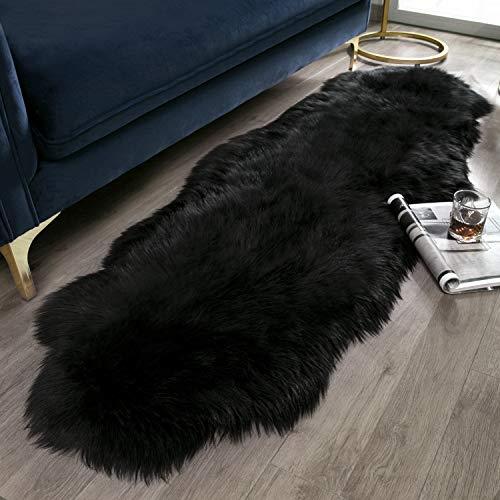 Ashler Soft Faux Sheepskin Fur Chair Couch Cover Black Area Rug for Bedroom Floor Sofa Living Room 2 x 6 Feet