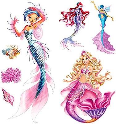 Oottati 2 Hojas 3D Tatuaje Temporal Tattoo Sirena Rosa: Amazon.es ...