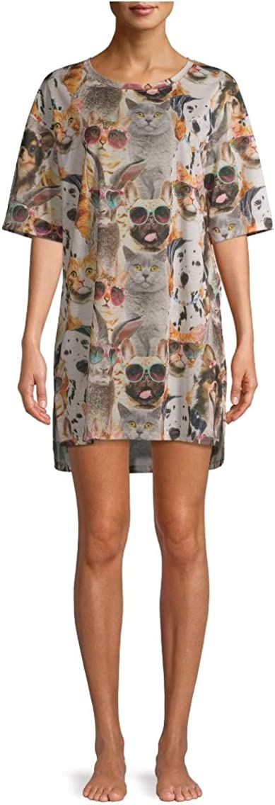 Cats /& Dogs Sleepshirt Small//Medium Short Sleeve Nightshirt Gown Pajamas NWT
