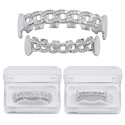 JINAO 18K Gold-Tone Silver Iced Out Hip Hop Bling Open Face Hollow Teeth Grillz Cubic Zirconia (CZ) Chain Shape Vampire Fang Removable Grills Combo Set with Extra Fixing Bar (Silver Set) (Teeth Iced Out)