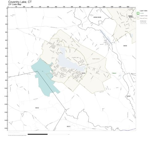 Wall Small Coventry (ZIP Code Wall Map of Coventry Lake, CT ZIP Code Map Laminated)