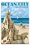 Lantern Press Ocean City, Maryland - Sand Castle (12x18 Aluminum Wall Sign, Wall Decor Ready to Hang)
