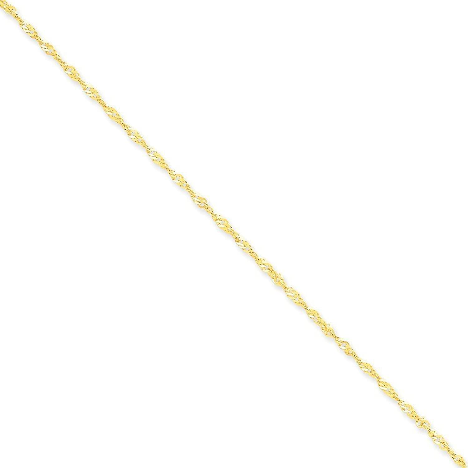 14k Gold 1.70mm Singapore Chain 9 Inches