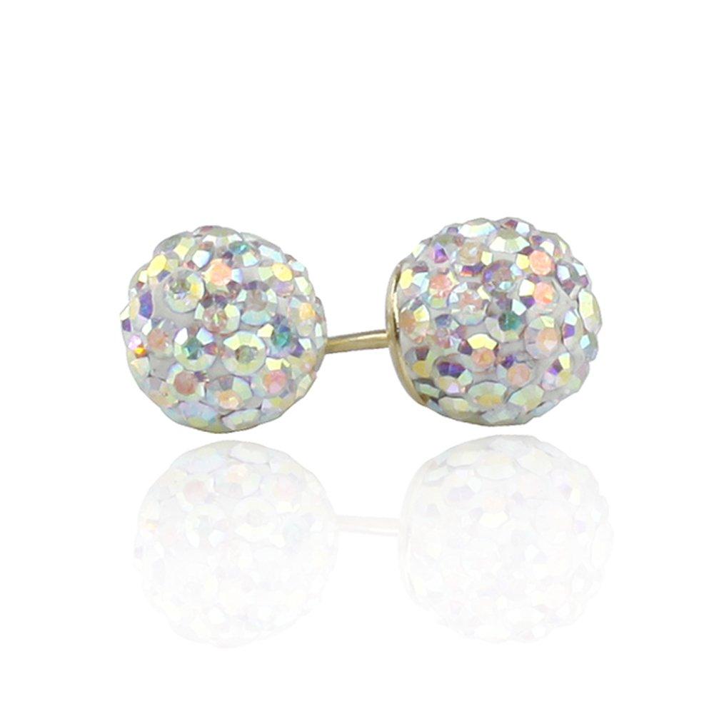 14K Gold Stud Earrings Multi-Color Crystal Setting Ball Stud Screwback Earrings 8mm