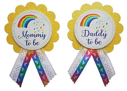 Mommy Pin - Mommy to Be & Daddy to Be Pin Rainbow Baby Shower Pin for parents to wear, It's a Girl, It's a Boy Baby Sprinkle