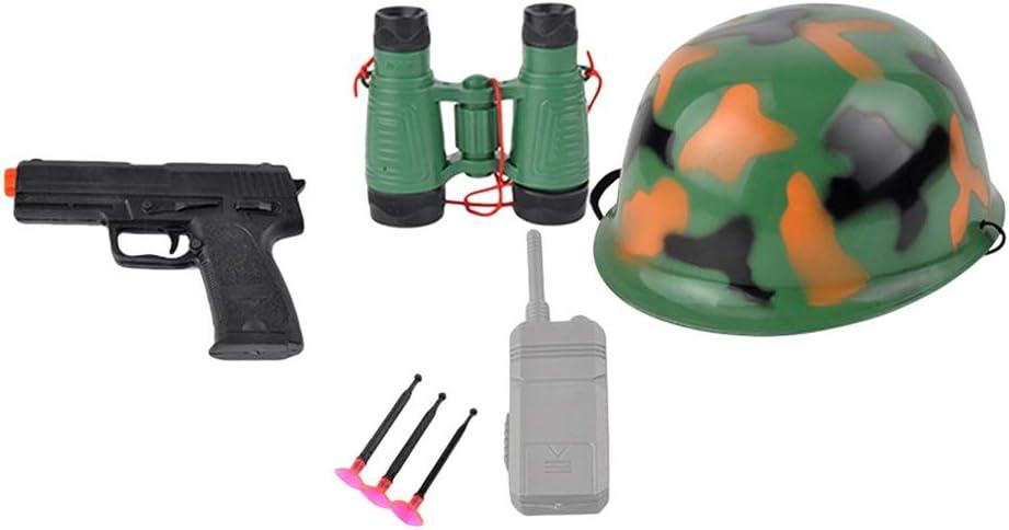 STOBOK Juego de Disfraz Policía Juguete PolicialJuguete con Pistola y Sombrero Accesorios para Niños y niñas (Conjunto de Camuflaje 102g)