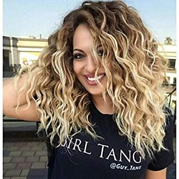 Damen Perücke Synthetische Lockige Mitte Braun Blond Ombre Haar