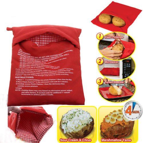 Hot Sale Fast 4 Minutes Microwave Baked Potato Kitchen Cooking Bag Washable Potato Express Cooker For Christmas Dinner cooking tools (Rabbit Sun Fun Mix)