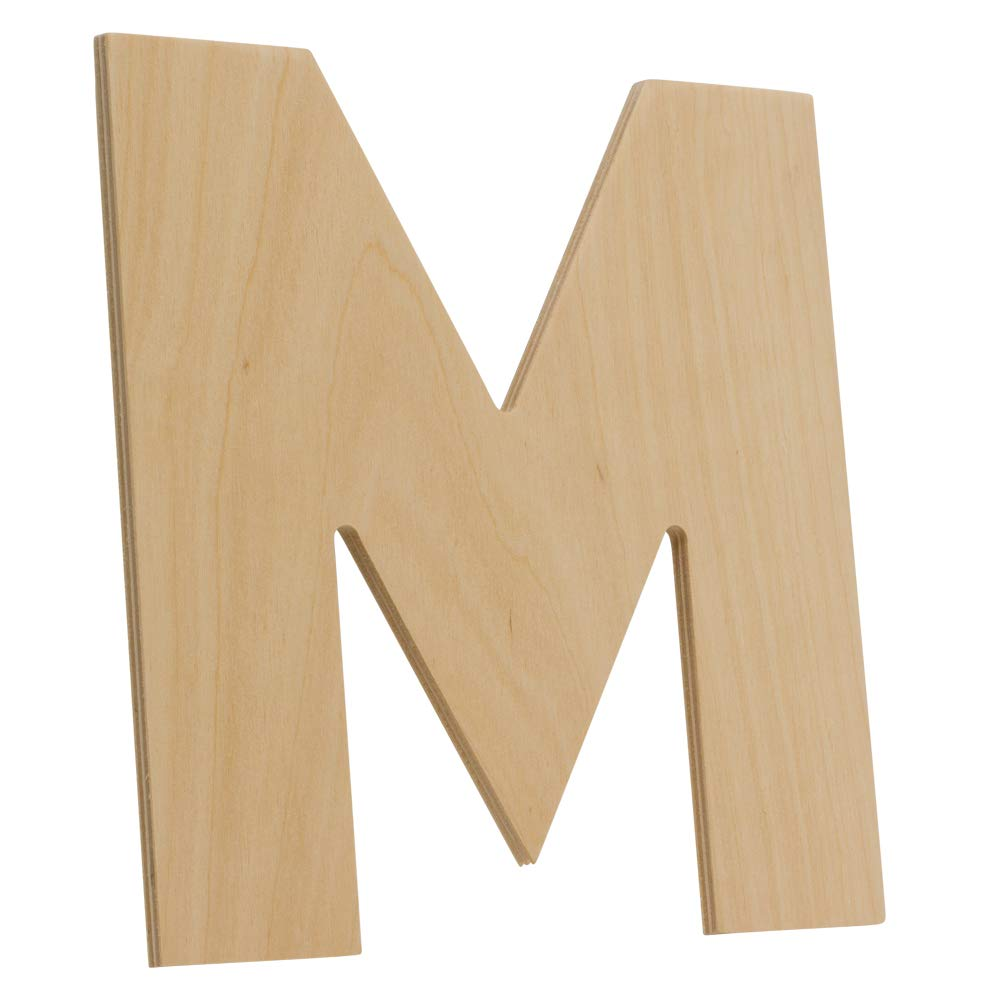 A by Woodpeckers Unfinished 8 x 9 Inch Decorative Craft Monogram for Wedding Parties and Home D/écor with Tool Free Adhesive Foam Squares for Hanging Wooden Letters
