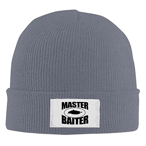 Adult's Fishing Master Baiter Hook Lure Fishing Elastic Knitted Beanie Cap Winter Outdoor Warm Skull Hats One Size Asphalt ()