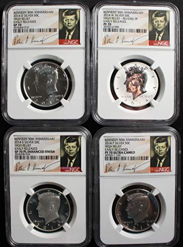 2014 Various Mint Marks Kennedy Half Dollar 50th Anniversary Set Early Release- Enhanced Finish is Proof-life all 70 grades Half Dollar NGC SP70, PF70